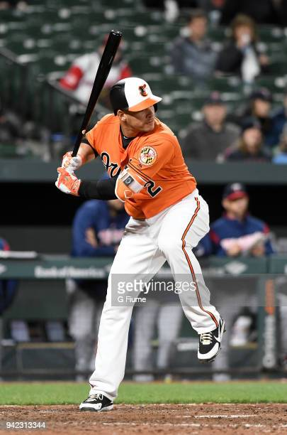 Danny Valencia of the Baltimore Orioles bats against the Minnesota Twins at Oriole Park at Camden Yards on March 31 2018 in Baltimore Maryland