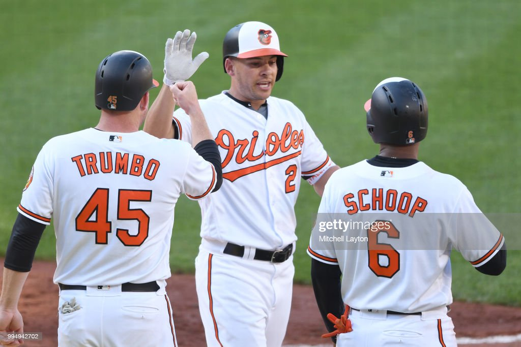 Danny Valencia #2 of the Baltimore Orioles celebrates a two run home three run home run in the sixth inning with Mark Trumbo #45 and Jonathan Schoop #6 during a game one of a doubleheader baseball game against the New York Yankees at Oriole Park at Camden Yards on July 9, 2018 in Baltimore, Maryland.