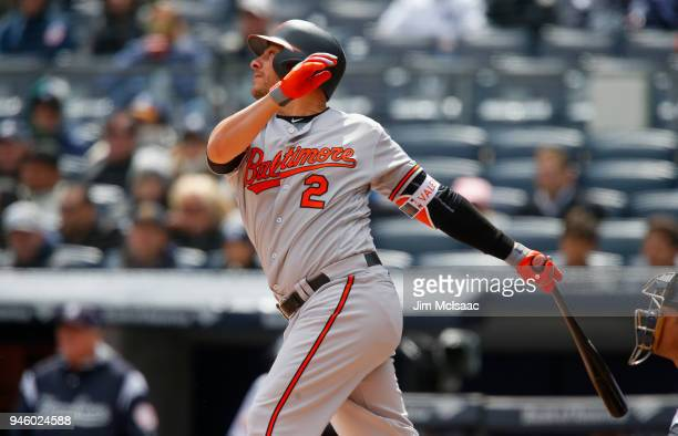 Danny Valencia of the Baltimore Orioles in action against the New York Yankees at Yankee Stadium on April 8 2018 in the Bronx borough of New York...