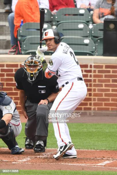 Danny Valencia of the Baltimore Orioles prepares for a pitch during a baseball game against the Washington Nationals at Oriole Park at Camden Yards...