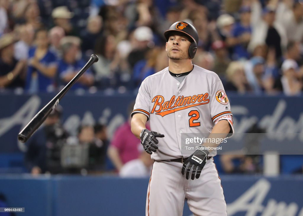 Danny Valencia #2 of the Baltimore Orioles reacts after striking out in the tenth inning during MLB game action against the Toronto Blue Jays at Rogers Centre on June 7, 2018 in Toronto, Canada.