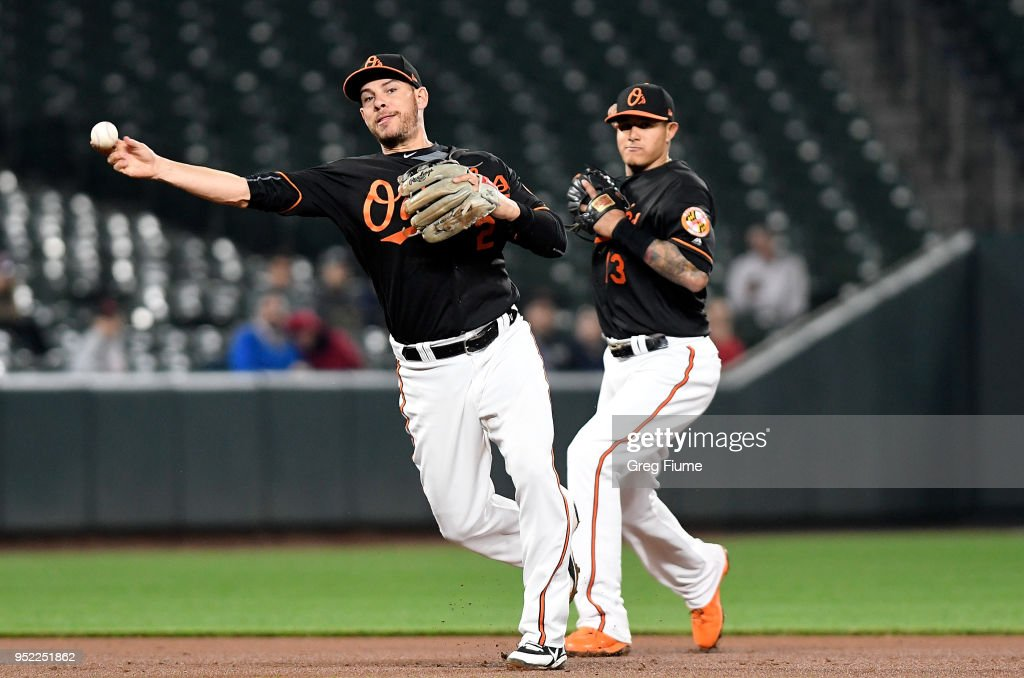 Danny Valencia #2 of the Baltimore Orioles throws out Dixon Machado #49 (not pictured) of the Detroit Tigers in the eighth inning at Oriole Park at Camden Yards on April 27, 2018 in Baltimore, Maryland.