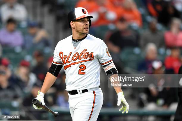 Danny Valencia of the Baltimore Orioles walks back to the dug out during a baseball game against the Cleveland Indians at Oriole Park at Camden Yards...