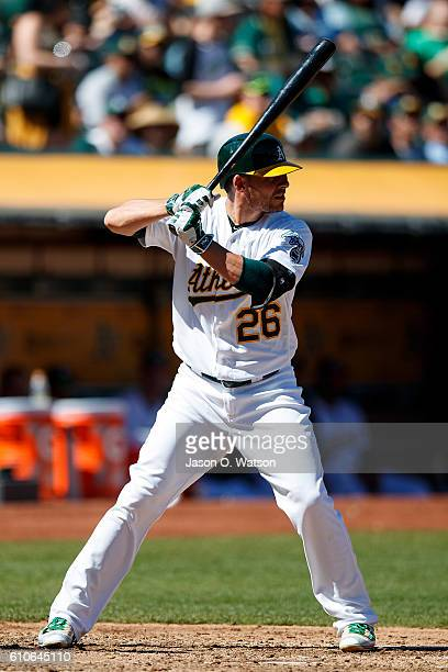 Danny Valencia of the Oakland Athletics at bat against the Texas Rangers during the fourth inning at the Oakland Coliseum on September 24 2016 in...