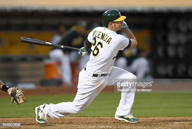 Danny Valencia of the Oakland Athletics bats against the Pittsburgh Pirates in the bottom of the fifth inning at Oco Coliseum on July 2 2016 in...