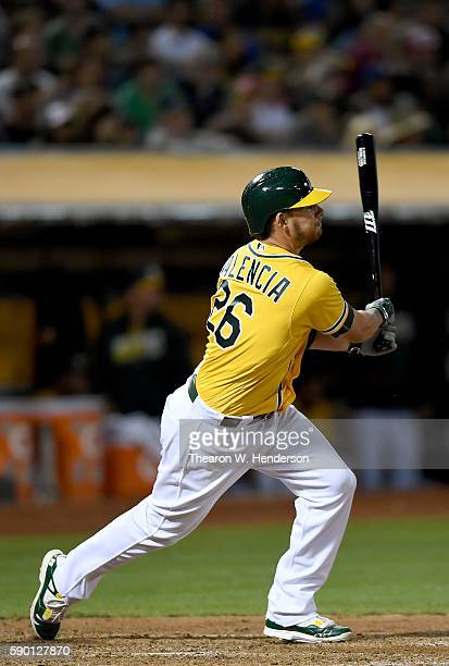 Danny Valencia of the Oakland Athletics bats against the Seattle Mariners in the bottom of the six inning at the Oakland Coliseum on August 12 2016...