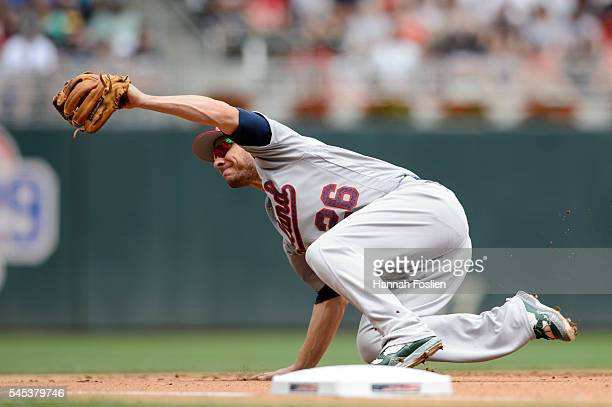 Danny Valencia of the Oakland Athletics makes a play at third base against the Minnesota Twins during the game on July 4 2016 at Target Field in...