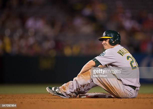 Danny Valencia of the Oakland Athletics reacts after getting out at second base during the ninth inning of the game against the Los Angeles Angels of...