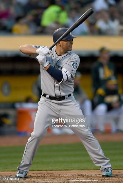 Danny Valencia of the Seattle Mariners bats against the Oakland Athletics in the top of the second inning at Oakland Alameda Coliseum on April 21...