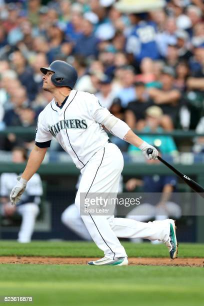 Danny Valencia of the Seattle Mariners bats during the game against the New York Yankees at Safeco Field on July 20 2017 in Seattle Washington The...