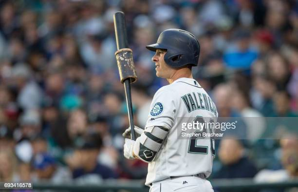 Danny Valencia of the Seattle Mariners stands in the on deck circle during a game against the Tampa Bay Rays at Safeco Field on June 3 2017 in...