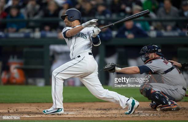 Danny Valencia of the Seattle Mariners takes a swing during an atbat in a game against the Houston Astros at Safeco Field on April 11 2017 in Seattle...
