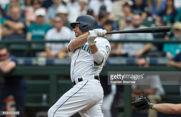 Danny Valencia of the Seattle Mariners takes a swing during an atbat in a game against the Houston Astros at Safeco Field on September 4 2017 in...