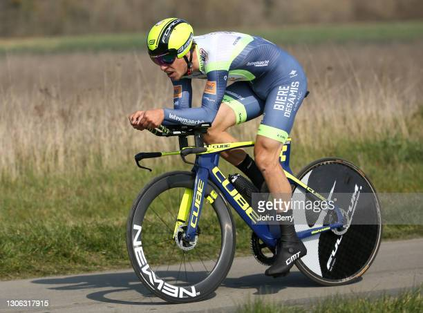Danny Van Poppel of Netherlands and Intermarche - Wanty - Gobert during stage 3, an individual time trial of 14,4km from Gien to Gien, during the...