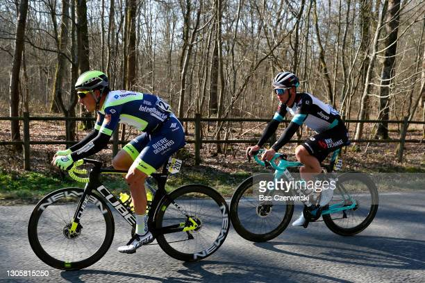 Danny Van Poppel of Netherlands and Team Intermarché - Wanty - Gobert Matériaux & Kaden Groves of Australia and Team BikeExchange during the 79th...