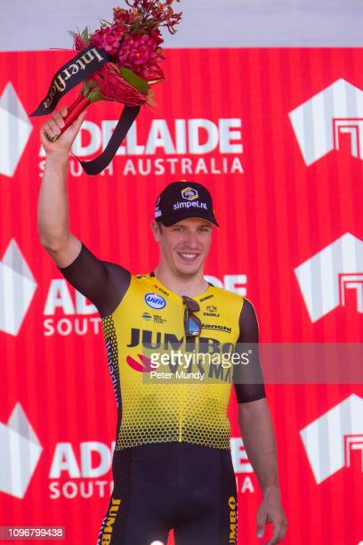 ADELAIDE AUSTRALIA JANUARY 20 Danny van Poppel of Netherlands and Team JumboVisma celebrates wining the @southaustralia Most Competitive Rider Jersey...