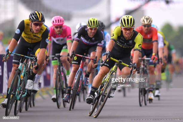 Danny Van Poppel of The Netherlands and Team LottoNLJumbo / Luka Mezgec of Slovenia and Team MitcheltonScott / Caleb Ewan of Australia and Team...