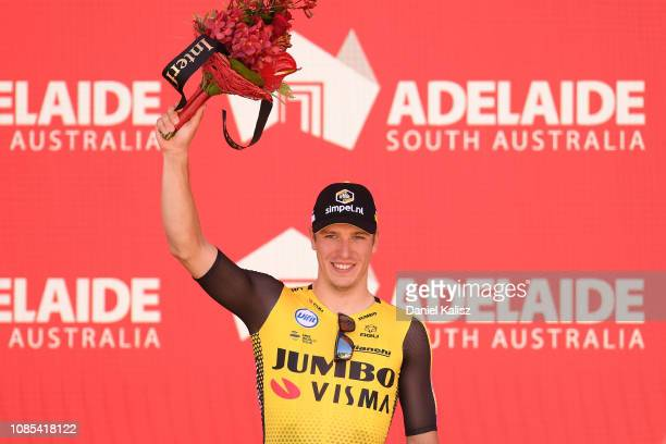 Danny van Poppel of The Netherlands of Team Jumbo-Visma celebrates on the podium during the 21st Santos Tour Down Under 2019, Stage 6 a 151,5km stage...