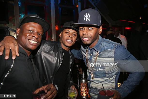 Danny Victor Tyran 'Ty Ty' Smith and Von Smith attend Kevin Durant's 25th Birthday Party at Avenue on September 22 2013 in New York City