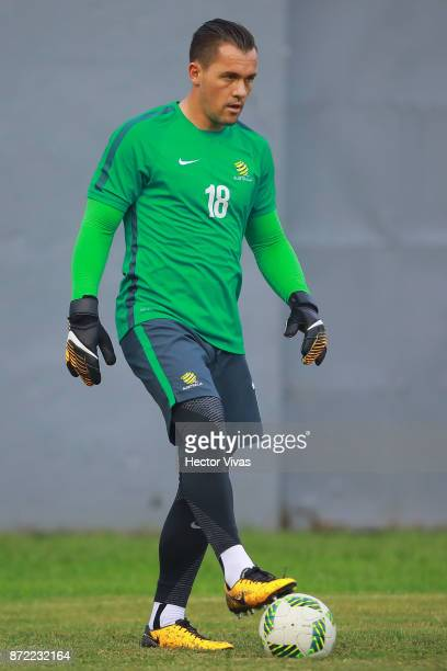 Danny Vukovic of Australia controls the ball during a training session ahead of the leg 1 of FIFA World Cup Qualifier Playoff against Honduras at...