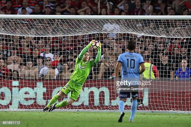 Danny Vukovic of Sydney FC saves a shot at goal during the round 15 ALeague match between Sydney FC and the Western Sydney Wanderers at Allianz...