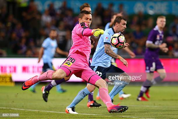 Danny Vukovic of Sydney kicks the ball out during the round 11 ALeague match between Perth Glory and Sydney FC at nib Stadium on December 17 2016 in...