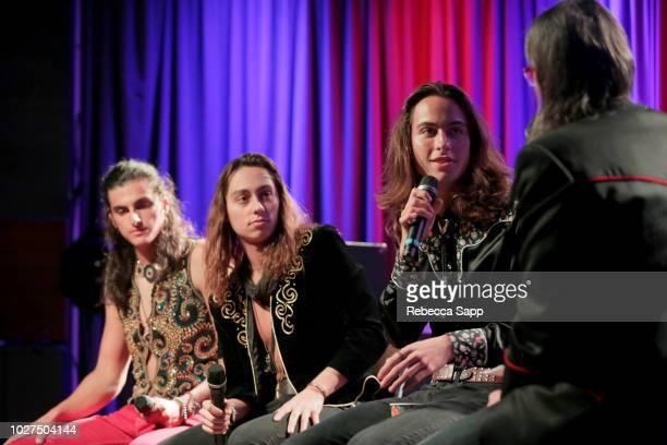 Danny Wagner Jake Kiszka and Sam Kiszka of Greta Van Fleet speak with GRAMMY Museum Artistic Director Scott Goldman at Spotlight Greta Van Fleet at...