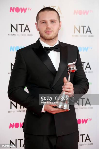 Danny Walters poses in the press room with the Newcomer Award at the National Television Awards 2018 at The O2 Arena on January 23 2018 in London...