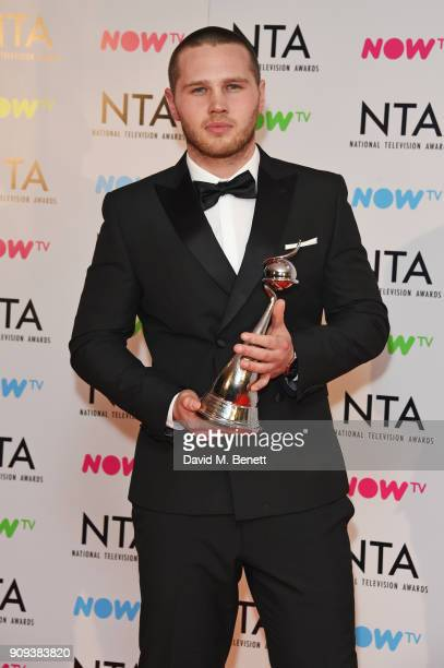 Danny Walters winner of the Best Newcomer award poses in the press room at the National Television Awards 2018 at The O2 Arena on January 23 2018 in...