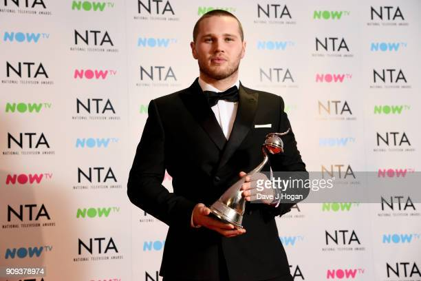 Danny Walters wins the Newcomer award at the National Television Awards 2018 at The O2 Arena on January 23 2018 in London England