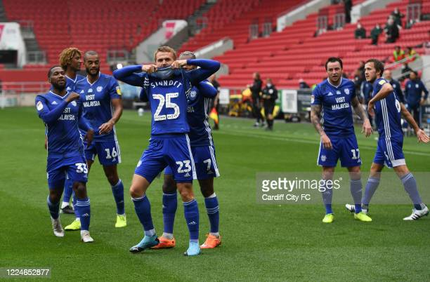 Danny Ward and Cardiff City FC celebrating during the Sky Bet Championship match between Bristol City and Cardiff City at Ashton Gate on July 4 2020...
