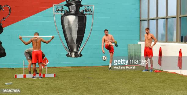 Danny Ward and Conor Masterson of Liverpool during their first day back for preseason training at Melwood Training Ground on July 2 2018 in Liverpool...