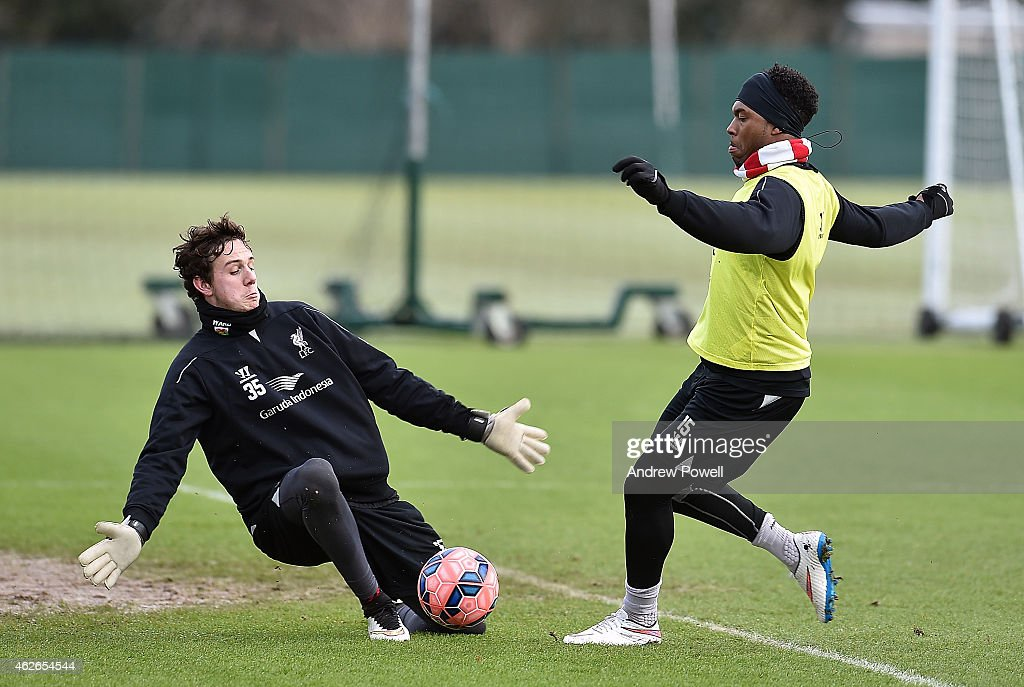 Danny Ward and Daniel Sturridge of Liverpool during a training session at Melwood Training Ground on February 2, 2015 in Liverpool, England.