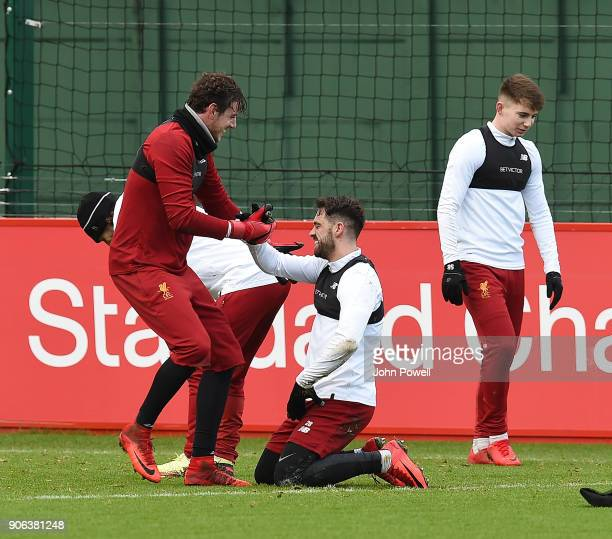 Danny Ward and Danny Ings of Liverpool during a training session at Melwood Training Ground on January 18 2018 in Liverpool England