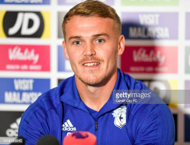 Danny Ward during the Cardiff City press conference at the City of Cardiff Stadium on August 17 2018 in Cardiff Wales