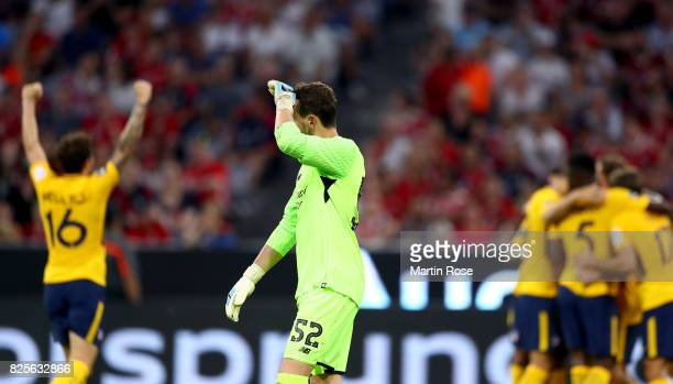 Danny Ward goalkeeper of Liverpool reacts during the Audi Cup 2017 match between Liverpool FC and Atletico Madrid at Allianz Arena on August 2 2017...