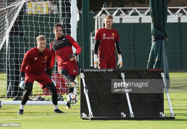 Danny Ward Loris Karius and Simon Mignolet of Liverpool during a training session at Melwood Training Ground on September 21 2017 in Liverpool United...