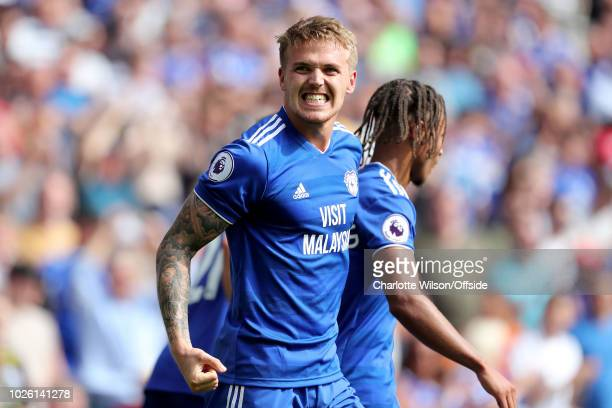 Danny Ward of Cardiff celebrates scoring their 2nd goal during the Premier League match between Cardiff City and Arsenal FC at Cardiff City Stadium...