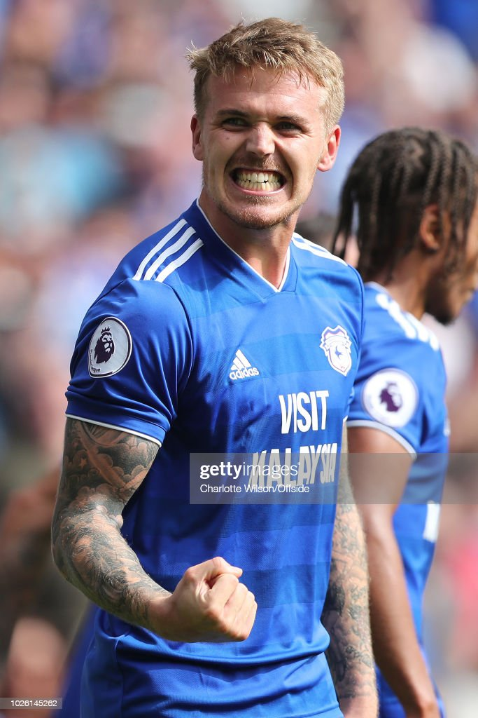 Danny Ward of Cardiff celebrates scoring their 2nd goal during the Premier League match between Cardiff City and Arsenal FC at Cardiff City Stadium on September 2, 2018 in Cardiff, United Kingdom.