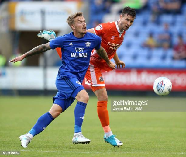 Danny Ward of Cardiff City and Mat Sadler of Shrewsbury Town during the preseason friendly between Shrewsbury Town and Cardiff City at The Montgomery...