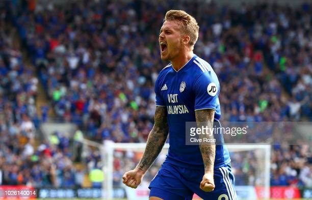 Danny Ward of Cardiff City celebrates after scoring his team's second goal during the Premier League match between Cardiff City and Arsenal FC at...