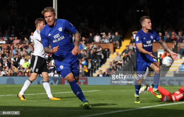 Danny Ward of Cardiff City celebrates scoring during the Sky Bet Championship match between Fulham and Cardiff City at Craven Cottage on September 9...
