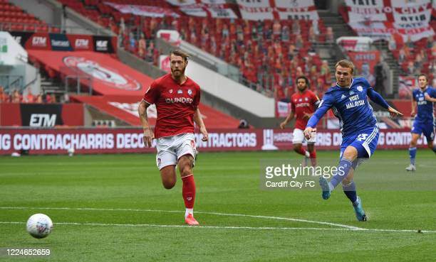 Danny Ward of Cardiff City FC shoots during the Sky Bet Championship match between Bristol City and Cardiff City at Ashton Gate on July 4 2020 in...