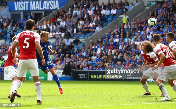 Danny Ward of Cardiff City scores his team's second goal during the Premier League match between Cardiff City and Arsenal FC at Cardiff City Stadium...