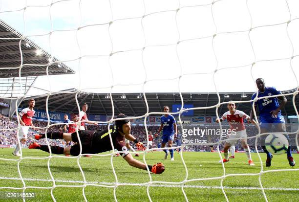 Danny Ward of Cardiff City scores his team's second goal past Petr Cech of Arsenal during the Premier League match between Cardiff City and Arsenal...