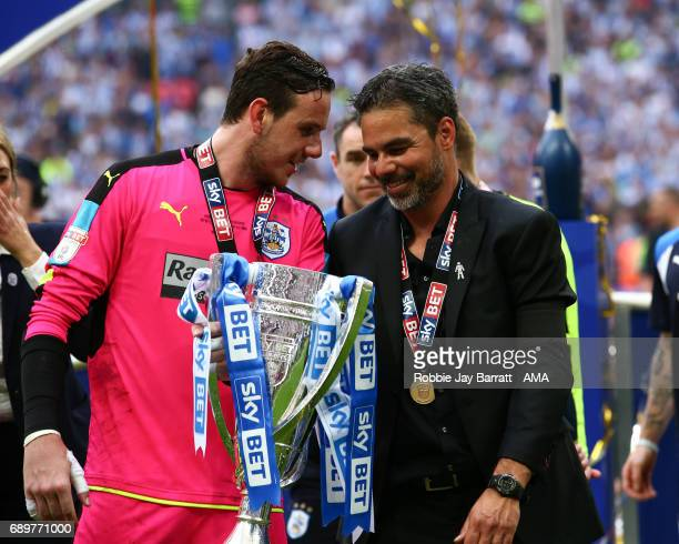 Danny Ward of Huddersfield Town and David Wagner head coach / manager of Huddersfield Town celebrate during the Sky Bet Championship Play Off Final...