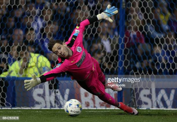 Danny Ward of Huddersfield Town in action during the penalty shootout during the Sky Bet Championship play off semi final second leg match between...
