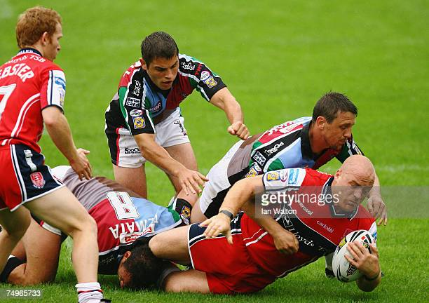 Danny Ward of Hull KR goes over to score a try during the Engage Super League match between Harlequins and Hull FC at the Twickenham Stoop on June 30...