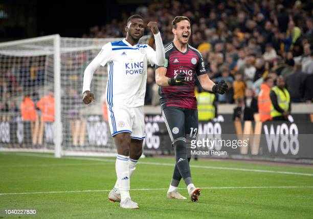 Danny Ward of Leicester City and Kelechi Iheanacho of Leicester City celebrate following their sides victory in the penalty shoot out and therefore...