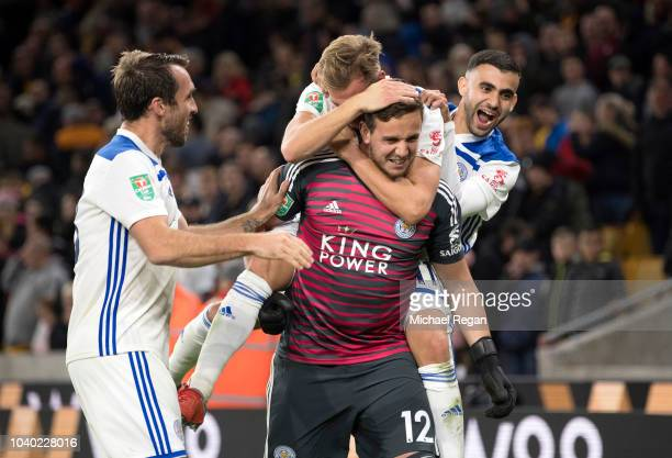 Danny Ward of Leicester City celebrates with teammates following Leicester City's victory in the penalty shoot out and during the Carabao Cup Third...